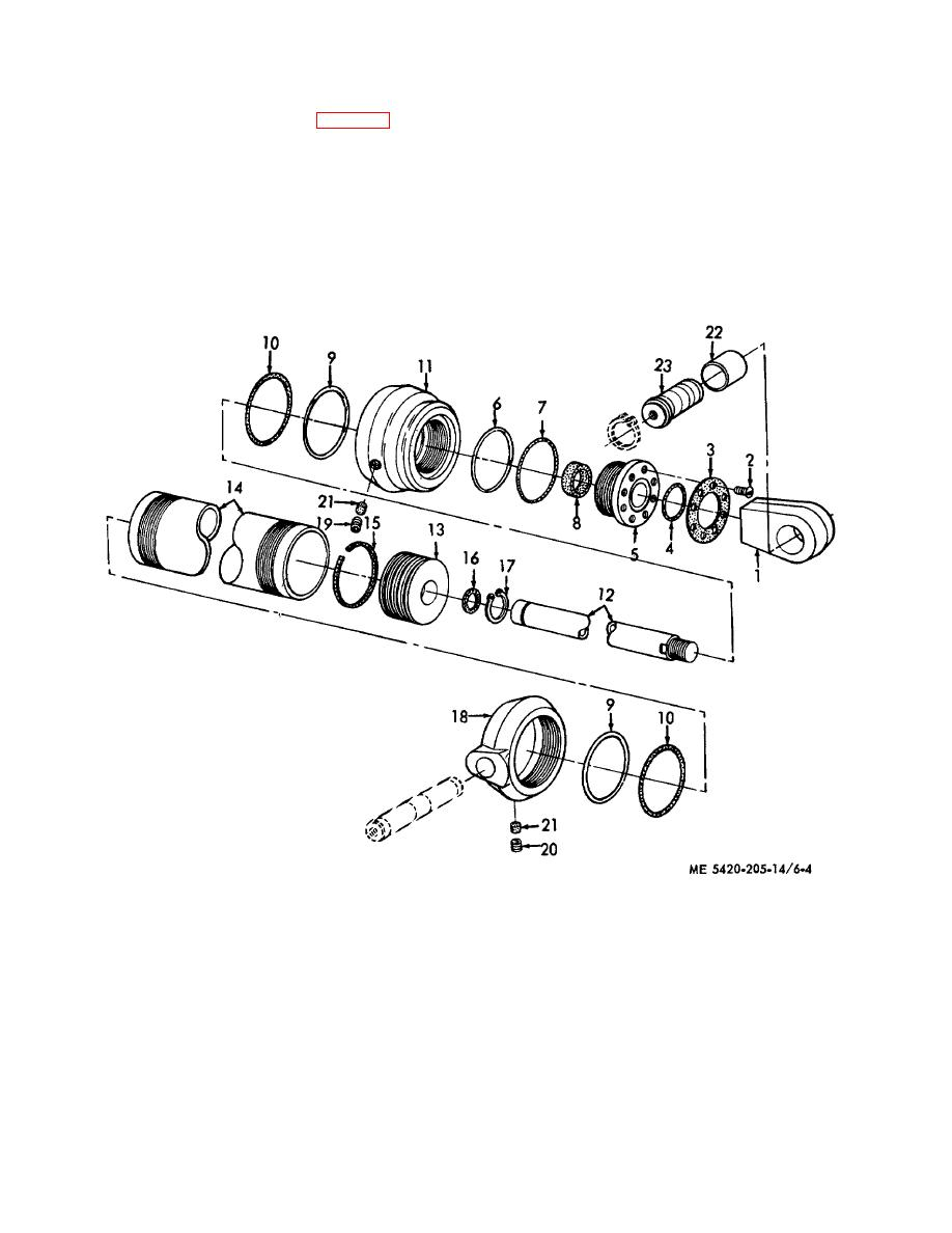 Figure 6-4  Unfolding mechanism hydraulic cylinder, disassembly and